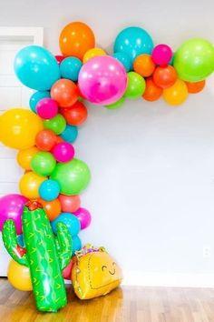 String Balloons, Rainbow Balloons, Balloon Arch, Balloon Garland, Cactus Balloon, Diy Garland, Fiesta Party Decorations, Fiesta Theme Party, Festa Party