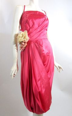 Shocking Pink Silk 1950s Cocktail Dress w/ Draped Skirt and Roses by Lee Claire, DCV