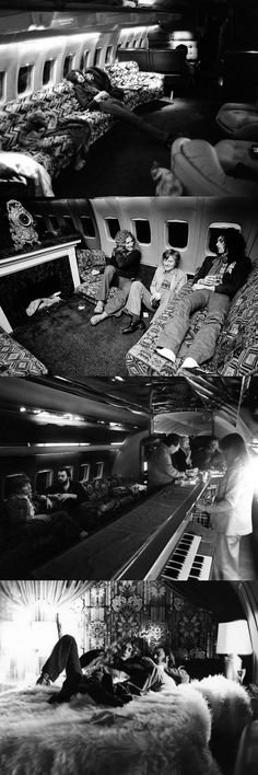 "http://custard-pie.com/ Led Zeppelin aboard their private jet, ""The Starship"" - 1973"