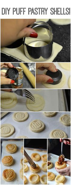 How to make easy puff pastry shells for appetizers using a sheet of frozen puff pastry. Puff Pastry Desserts, Frozen Puff Pastry, Puff Pastry Recipes, Puff Pastry Appetizers, Vol Au Vent, Appetizers For Party, Appetizer Recipes, Dessert Recipes, Puff Pastry Shell Recipe