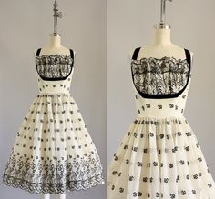 Vintage 50s Dress/ 1950s Party Dress/ Black