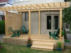 Deck and pergola with side screen gives total privacy from neighbour. #deck #pergola #deckplans #deckbuildingplans