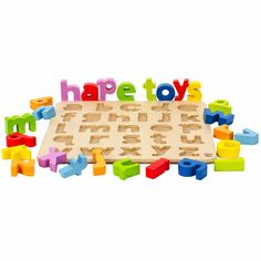 Lowercase Alphabet Puzzle from Oompa Toys $20 http://www.oompa.com/collections/wooden-puzzles/products/hape-lowercase-alphabet-puzzle