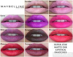 Maybelline Super Stay Matte Ink Liquid Lipstick Lip Swatches