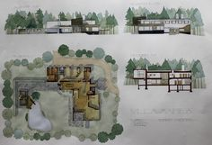 Plan & Side View Drawing. Villa Mairea. Alvar Aalto. 2011. By architecture University of Navarra Student. Adrián Azofra