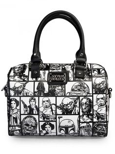 """""""Star Wars Comic Print"""" Leather Duffle by Loungefly (Black/White)"""