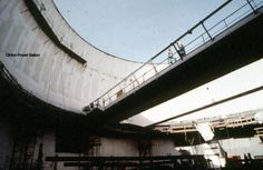 Clinton Power Station - Containment Building and polar crane on circular rails about year 1980.