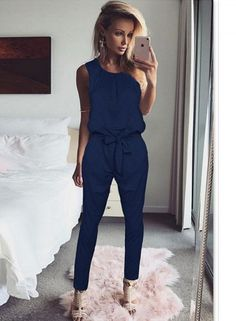 5f3e5da125 Blue Casual Sleeveless Flex Jumpsuit With Waist Tie Wide Leg Pants