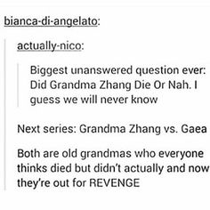 DYING XDDDDDDDDD<<<i don't wanna be a party pooper, but i'm pretty sure grandma zhang did died. she probably used her last forces to turn into an animal and escape and then she died