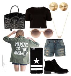 """""""Music is the answer"""" by maya7277 on Polyvore featuring Kendra Scott, Ted Baker, Yves Saint Laurent, LE3NO, Lucky Brand, Givenchy, Linda Farrow and Eddie Borgo"""