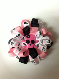 On Sale  Baby Girl Pink Skull Loopy Bow  by TippieToesBowtique, $4.99