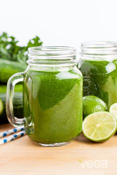 Cucumber Lime Kale Smoothie: If you're watching your sugar intake, or prefer your smoothies to be less sweet, give this green on green on green combination a try.  Refreshing and packed with nutrients, it's a win, win! #VegaSmoothie