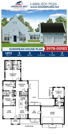 A darling European home design, Plan 3978-00182 features 1,872 sq. ft., 3 bedrooms, 3.5 bathrooms, an in-law suite, an open floor plan, a flex room, a formal living room, and a studio. #europeanhome #architecture #houseplans #housedesign #homedesign #homedesigns #architecturalplans #newconstruction #floorplans #dreamhome #dreamhouseplans #abhouseplans #besthouseplans #newhome #newhouse #homesweethome #buildingahome #buildahome #residentialplans #residentialhome European Plan, European House Plans, Best House Plans, Dream House Plans, Dream Houses, New England Homes, New Homes, Southern Porches, Houses
