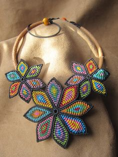 Multicolored Flower Macrame Necklace Handmade by PapachoCreations