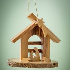 EarthwoodLLC Olive Wood Grotto with Nativity Under Arch Ornament