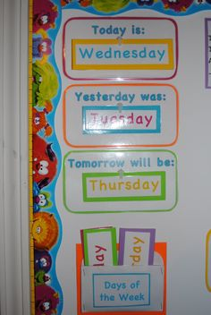 "First we have our ""Today is..."", ""Yesterday was..."", ""Tomorrow will be...""…"