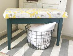 Jitterbug Bench #DIY #furniturepaint #paintedfurniture #homedecor #countrychicpaint #teal #jitterbug #limitededition #upholstered #storage #bench #chalkpaint #retro - blog.countrychicpaint.com