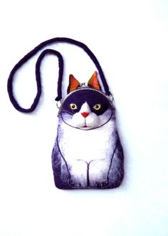 CAT Wet Felted Purse by tatianaflor on Etsy, $99.00