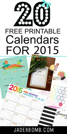 20 FREE Printable Calendars for 2015