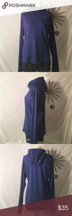 Nike Pullover-NWT Nike Running Pullover, this is one of my favorite tops that Nike makes! Thumb holes to keep the sleeves from bunching, hooded with maximum protection from wind. Zippered key pocket at the shoulder, reflective detail.  Women's size medium, color is cobalt blue. .🚫No Trading Please!💰Posh Rules Only! 👀Thanks for looking! Nike Tops