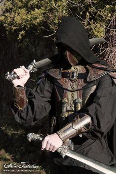 Armure GN en cuir ~ leather medieval fantasy armor larp elder scrolls skyrim rogue voleur thief breton