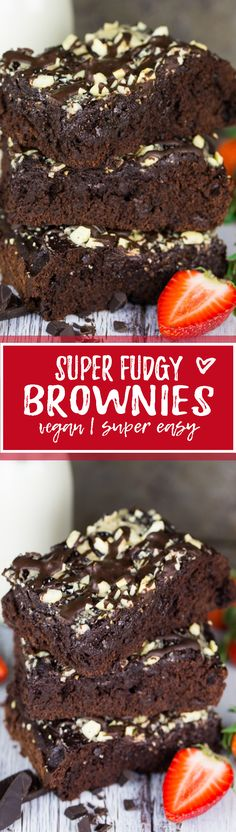 These vegan brownies with tahini are my new favorite! They're incredibly fudgy, moist, and SO chocolatey.  The tahini doesn't only add a lot of nutrients, it also gives them an awesome texture and taste! Chocolate heaven, here I come!! One of my favorite chocolate recipes! <3   veganheaven.org