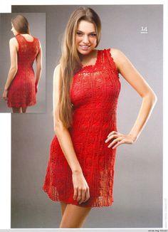 Vestido vermelho de crochê