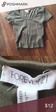 Forever 21 Olive Green Crop Top Worn once.In great condition! Forever 21 Tops Crop Tops