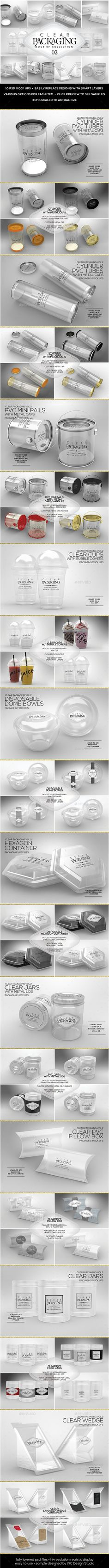 Clear Packaging MockUps 02 by incybautista Volume 2: Clear Plastic Food Containers Packaging Mock Up Collection10 Plastic Container Mock Ups in various shapes and sizes—per