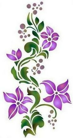 ideas for painted rocks flowers Stencil Patterns, Stencil Art, Stencil Designs, Embroidery Patterns, Hand Embroidery, Machine Embroidery, Flower Stencils, Flower Patterns, Flower Designs