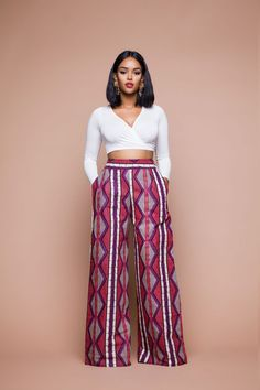 NeGo African Print Wide Leg Pants - Women's style: Patterns of sustainability African Print Pants, African Print Dresses, African Dress, African Prints, African American Fashion, African Print Fashion, Africa Fashion, African Attire, African Wear
