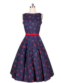 Blue Cherry Print Vintage Dress 0f0ff6b7e756