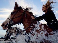 Girl riding a horse through the beach surf on Palma Sola Bay near Sarasota in Bradenton, Florida Florida Girl, Visit Florida, Sarasota Florida, Florida Travel, Florida Beaches, South Florida, National Geographic Travel, Anna Maria Island, Beach Walk