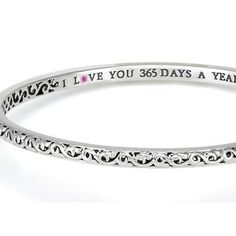 Charles Krypell's newest ivy love bangles are handcrafted in sterling silver with a discreet message showing your love for her. Comfortable and hand made, these bangle bracelets are perfect for layering, stacking, and mixing and matching. Each bangle bracelet is inscribed with I Love You Today, I Love You Tomorrow, I Love You Forever, utilizing a pink sapphire as a romantic accent.