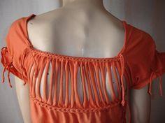 womens shredded braided  tuxedo tshirt por JohnnyVegasOriginals, $35.00