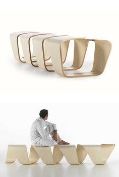 Modular multilayer wood bench DNA by True Design Leonardo Rossano Debora Mansur Bench Furniture, Modular Furniture, Urban Furniture, Street Furniture, Design Furniture, Cheap Furniture, Wooden Furniture, Furniture Plans, Chair Design