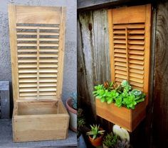 Very Cool Patio Projects Idea Box by DeeDee re purposed box shutter succulent planter, flowers, gardening, repurposing upcycling, succulents Outdoor Projects, Garden Projects, Wood Projects, Outdoor Decor, Garden Art, Home And Garden, Shutter Projects, Shutter Decor, Shutter Door Ideas