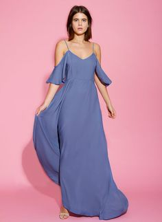 3959b8af71 Mykonos Cold Shoulder Blue Bridesmaids Dress Sleeves Bohemian Dresses Long  Rewritten UK  bridesmaid  dress