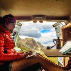 Where is my office now. Work on the future article on ski de rando magazine in the car in a lovely place!! #whereismyofficenow #car #van #vanlife #tourneo #tinyhouse #tinytravel #microadventure #microaventure #workinggirl #working #mountain #outdoorlife #outdooradventures #journalists #reporter #writing #vanadventures #instadaily #instamoment