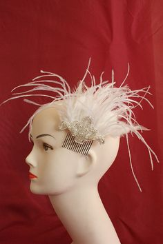 Great Gatsby headpiece white bridal comb fascinator ostrich feathers by Daisyplume, $30.00