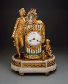 1780 French Mantel clock at the Museum of Fine Art, Boston - This is an exquisite piece, and I can definitely imagine it in someone's bedchamber or salon.  That being said, it's possible that the woman in the portrait in the medallion on top is Marie Antoinette, but this has not been confirmed by the curators.