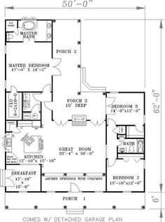This house plan has a spacious floor plan with a big kitchen and a nice master suite. The shape of the house allows for a private back yard. Includes plans for a detached garage (not shown). Best House Plans, House Floor Plans, Alternate Exterior, Floor Plan Drawing, Summer Porch, Southern House Plans, Hip Roof, Best Flooring, Country Style Homes