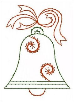 Christmas Bell Paper  Embroidery Pattern for Greeting by Darse, $1.50