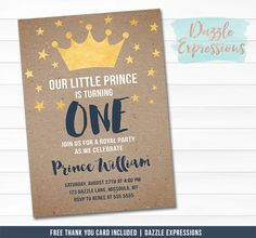 Printable Prince Birthday Invitation 2 - FREE thank you card - Modern Kraft Paper Background Navy Blue and Gold Foil Crown Party Package - Boys 1st Birthday – Dazzle Expressions