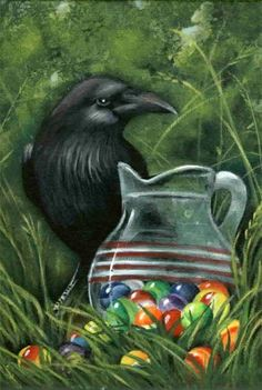 Crow and Marbles  Small Format  Acrylics on Canvas Board  Artist: Robin Leath  Visitors welcome to my FaceBook page:   http://www.facebook.com/pages/Original-Art-by-RRLeath/295716877123688