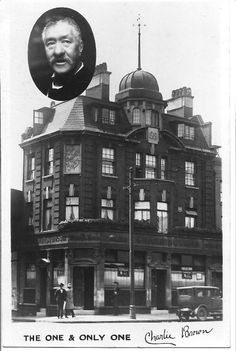 Railway Tavern, 116 West India Dock Road, Limehouse, and Charlie Brown - circa 1925 British Pub, Great British, British History, London Pubs, London Street, Vintage London, Old London, London Postcard, London Docklands
