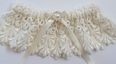 Wedding Garter Set with Rhinestone and Pearl Finding by JLWeddings