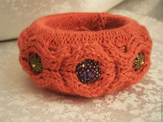 """Купить Вязаный """"терракотовый"""" браслет. - рыжий, терракотовый цвет, Вязаный браслет, стильный браслет"""