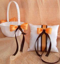 Chocolate Brown and Creamsicle Tangerine Orange Wedding Flower Girl Basket And Ring Pillow Set. $35.00, via Etsy.