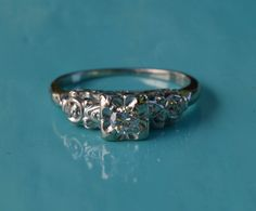 Retro Engagement Ring // White Gold Illusion Head Solitaire Diamond with Filigree Accents // 1940s 1950s Size 8